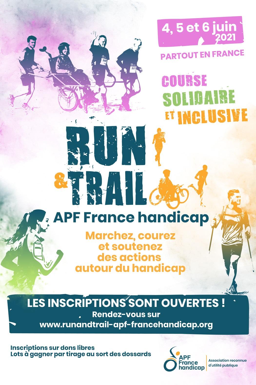 affiche run & trail la course solidaire APF France handicap
