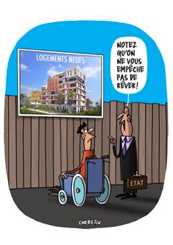 Logement et handicap - caricature Chereau