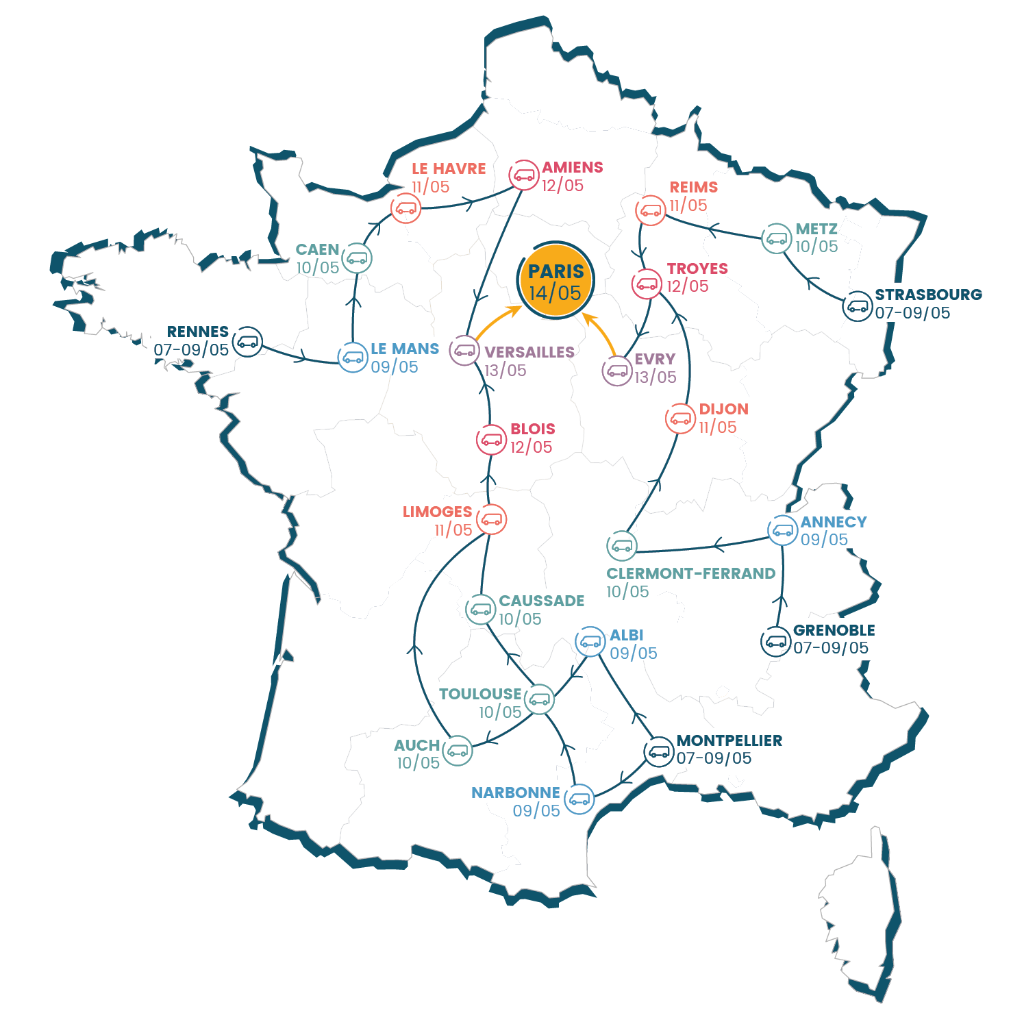 carte de france des étapes de la Caravane APF France handicap en route vers nos droits !