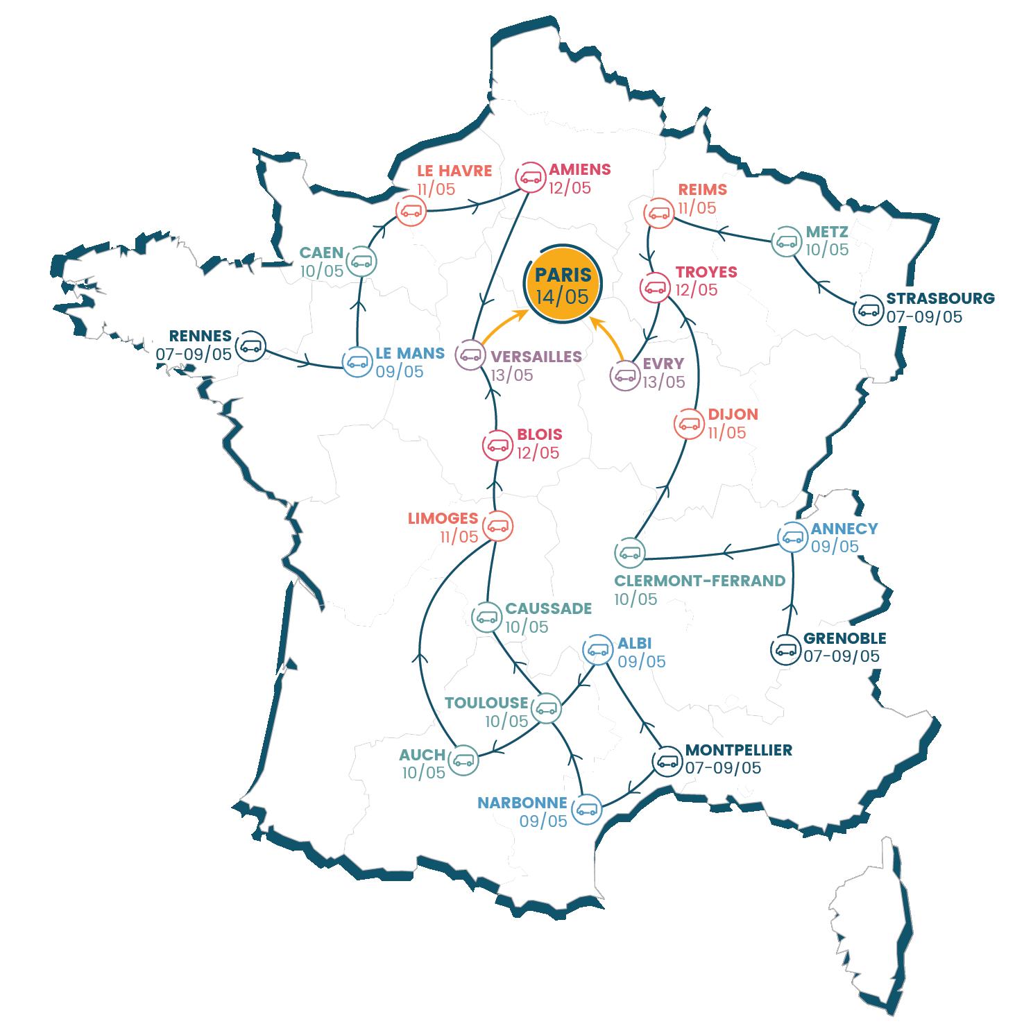 carte de france des étapes de la Caravane APF France handicap en route vers nos droits !