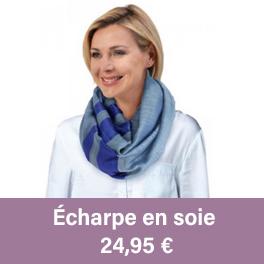 Écharpe tube, équitable en soie et en coton, de couleur bleu et grise.