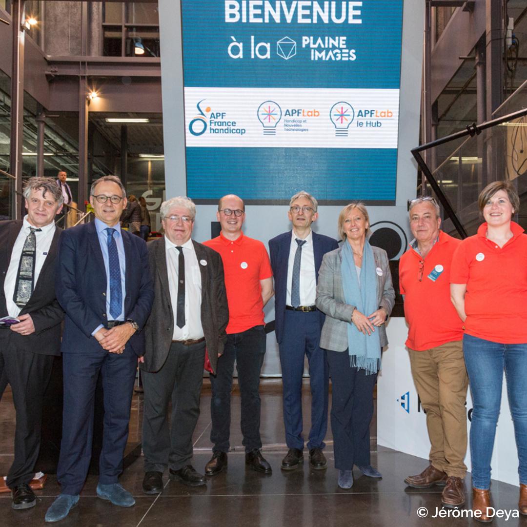 Photo de Jérôme Deya sur l'inauguration APF Lab - Le Hub avec Sophie Cluzel, Gérald Darmanin, Prosper Teboul