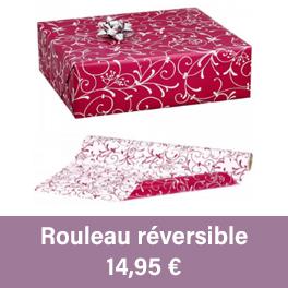 rouleau de papier cadeau réversible, rouge et blanc à utiliser pour vos cadeaux de fêtes de fin d'année.