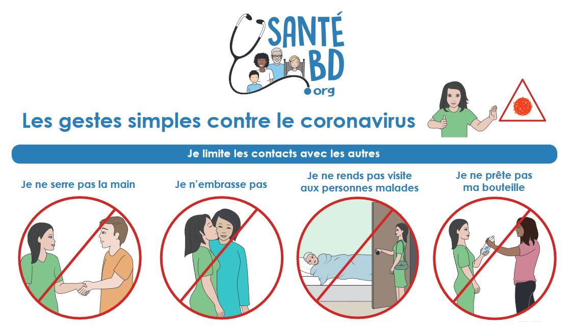 santé bd - illustration pour adopter les bons gestes contre le coronavirus