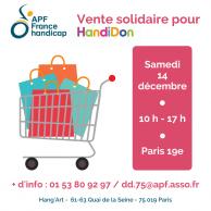 Visuel pour Vente solidaire à Paris au profit d'HandiDon