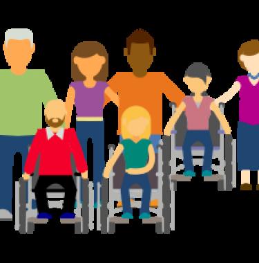 société inclusive : dessin représentant personne handicapée et proches