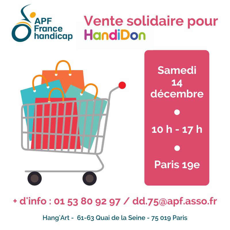 Vente solidaire au Hang'Art, Paris 19ème, le 14 décembre de 10 h à 17 h pour HandiDon avec la délégation APF France handicap de Paris