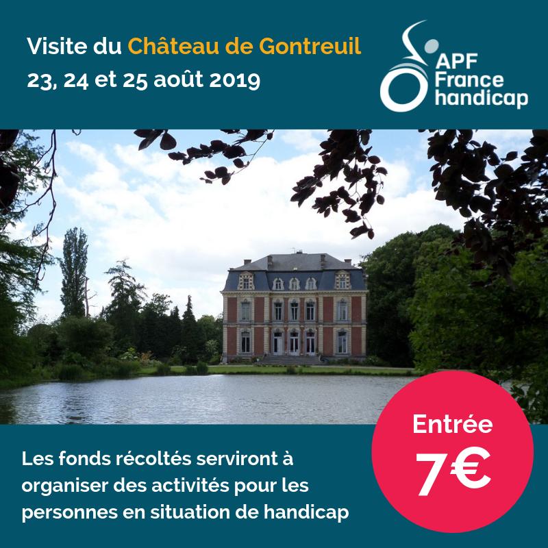 visite du château de gontreuil avec la délégation APF France handicap de l'aisne